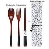 Alta calidad Juegos de cubiertos de madera portátiles con vajilla Útil Cuchara Tenedor Palillos Viajes regalo vajilla Traje cubiertos juego (Color : Black Blue flower)