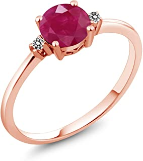 Gem Stone King 10K Rose Gold Engagement Solitaire Ring set with 1.03 Ct Round Red Ruby and White Diamonds