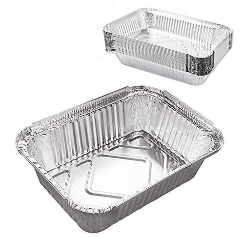 12 Contenitori alluminio,Vaschette Monouso, Perfette per Cottura al Forno, Barbecue,Arrostire e Cucinare.(argento)