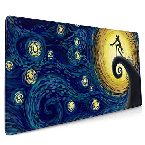 Night Before Christmas Jack The Starry Night Large Gaming Mouse Pad with Stitched Edges (35.4x15.7In), Extended Mousepad Non-Slip Rubber Base Keyboard Mat Desk Pad for Work Gaming