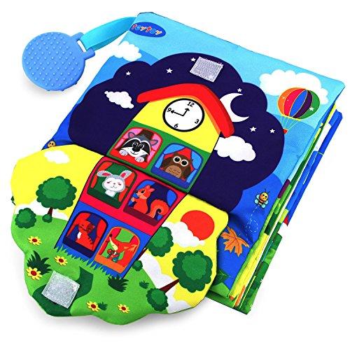 teytoy Baby Spielzeug ab 0 3 6 Monate Knisterbuch Baby Stoffbuch 3D Kuschel-Fühlbuch Frühes Lernen Grundlegende Lebenskompetenzen Buch - Reißverschluss, Knopf, Schnalle