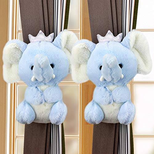 TYX-SS Children Toy Gift-2Pcs Curtain Tiebacks Rope Straps Curtain Buckle Animal Curtain Holdbacks for Baby Kids Window Decoration,Blue