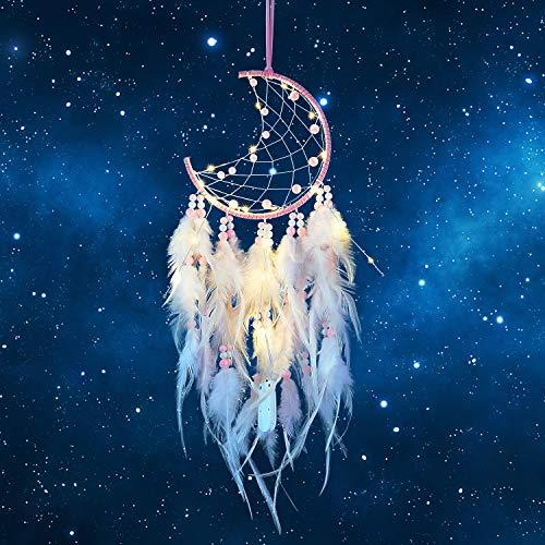 Hongyans Atrapasueños LED con Plumas Hecho a Mano Dream Catcher Adornos Colgar Pared para Decoración Hogar Dormitorio Boda Habitación Infantil Niñas Regalo de Cumpleaños