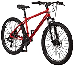 "Schwinn aluminum MTB frame with Schwinn suspension fork are great for all around fun on the trail. 26-inch wheel fits riders 5'4"" to 6'2"" tall Shimano 21-speed EZ-Fire shifters with Shimano rear derailleurs provide easy gear changes Mechanical disc b..."