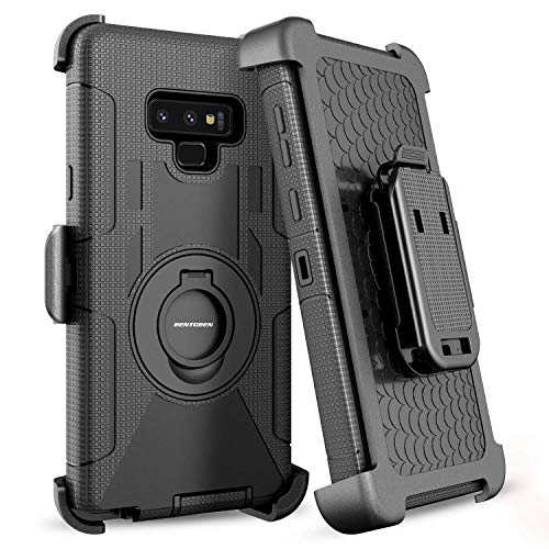 BENTOBEN Galaxy Note 9 Case, Shockproof Heavy Duty Rugged Hybrid Hard PC Cover Soft Silicone Bumper Full Body Protective Phone Case with Kickstand Belt Clip Holster for Samsung Galaxy Note 9,Black