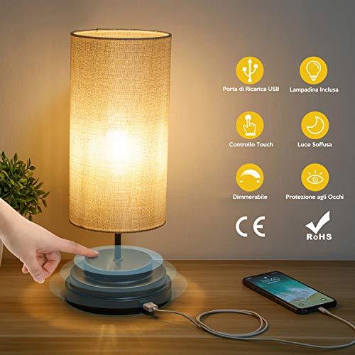 Kohree Lampada da Comodino Controllo Pieno Tattile USB Lampada da Tavolo con Porta di Ricarica Lampadina Inclusa Luce Dimmerabile con Paralume in Tessuto per Camera da Letto