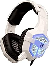 SADES SA-738 PC Gaming Headset with LED with Microphone, Professional Stereo Headphone 3.5mm LED with w/ Protein Leather Pad, for PC Gaming Mac