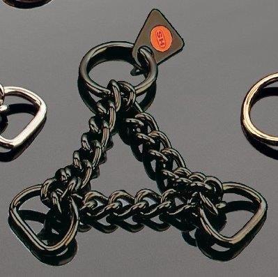 Sprenger 1x Durchzugskette aus Edelstahl, schwarz, Zwei D-Ringe, Größe: 20 mm (3/4