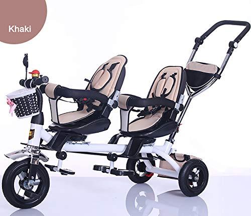 GHDE& kinderdriewieler, kinderzitje fiets met pedaalblokkering en Silent Wheels vroege Twin-kinderwagen geschikt van 18 maanden tot 6 jaar
