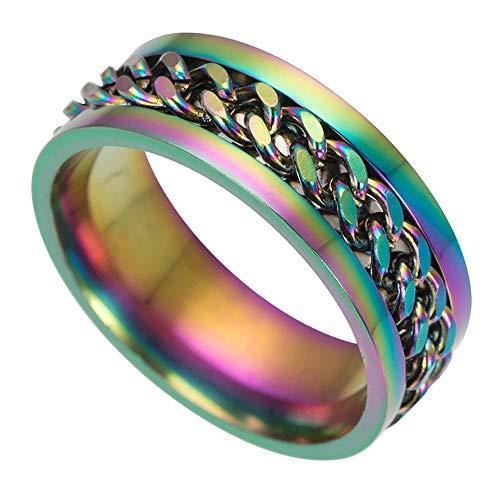 Ogquaton Anillo de titanio de acero inoxidable Anillo de cadena giratorio Anillo giratorio Anillo giratorio de boda para el cumpleaños de los hombres Padres de compromiso 'Tamaño del día 11 Color