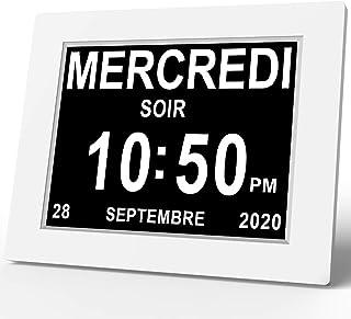 """SINOIDEAS 8"""" Pouce LCD Horloge Numérique Calendrier avec Date Jour Et Heure Horloge Non-Abrégée Auto Dimming 8 Langues HD ..."""