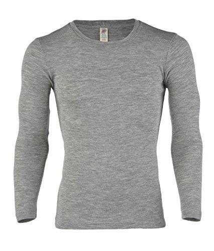 Engel Natur, Herren Shirt Langarm, Wolle & Seide, Hellgrau Melange, 46/48