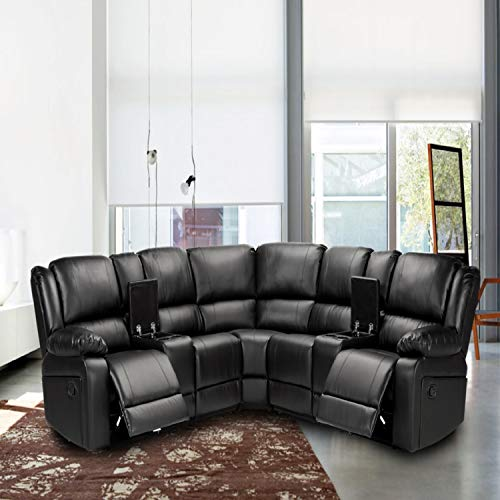 Symmertrical Reclining Sectional Sofa with 2 Motion Recliners & 2 Consoles with Cup Holder,Storage Included Sofa Couch for Living Room (Black)