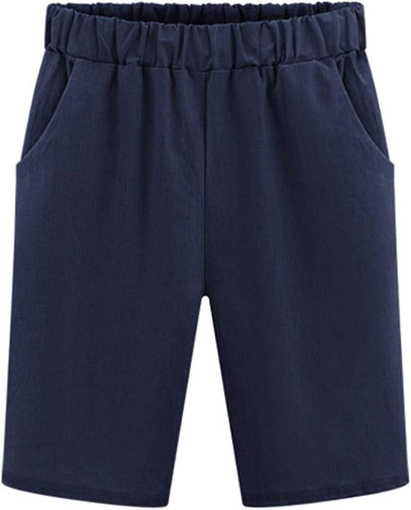 FUNEY Women Casual Shorts Solid Color Elastic Waist Pockets Summer Beach Lightweight Short Lounge Pants Harem Shorts