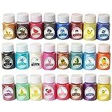 BAIRU 24 Colores Mica Mineral Polvo Epoxi Resina Perlescente Pigmento Colorante para DIY Jabón Maquillaje Joyería