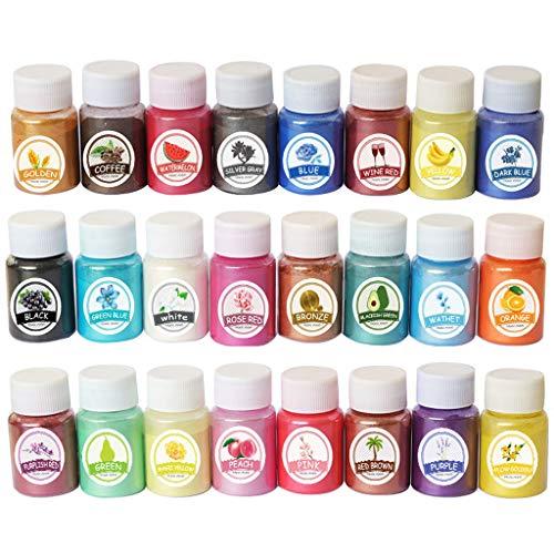 Ycncixwd 24 Farben Glimmer Mineralpulver Epoxidharz Pigment Perlglanzpigment Farbstoff
