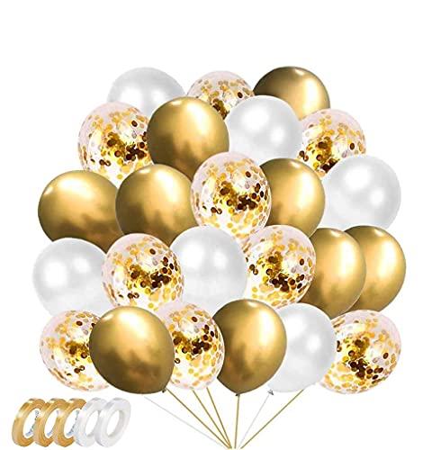 ZHOUHON 60 Piezas de Globos de Metal Dorado, Globos de Confeti Dorado, Globos Blancos Dorados, utilizados para cumpleaños, Fiesta de graduación, decoración de Fiesta de Baby Shower (Dorado)
