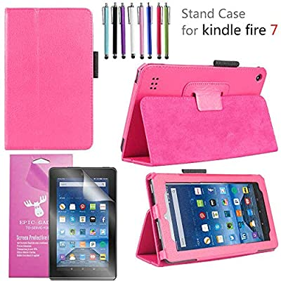 EpicGadget 2019/2017 Amazon Fire 7 Case, Smart Cover Case for Fire 7 Premium PU Leather Folding Folio Stand Case for Fire 7 inch (2019/2017 Release) + 1 Screen Protector and 1 Stylus (Pink) from EpicGadget