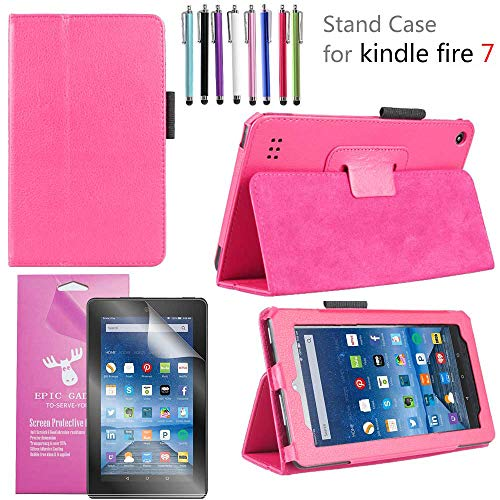 EpicGadget 2019/2017 Amazon Fire 7 Case, Smart Cover Case for Fire 7 Premium PU Leather Folding Folio Stand Case For Fire 7 inch (2019/2017 Release) + 1 Screen Protector and 1 Stylus (Pink)