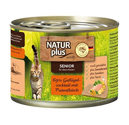 NATUR plus Katzenfutter SENIOR mit 69% Geflügelcocktailt mit Putenfleisch (getreidefrei) - 6 x 200 g