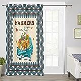 Cortina filtrante de luz de cocina para ventana, 132 x 91 cm, aislamiento térmico, para dormitorio, sala de estar, baño, otoño agricultores, mercado, un camión con verduras de calabaza en rejilla azul