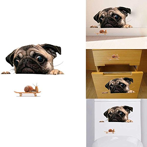 Rungao 3D Pug Dogs Watch Snail Car Window Decal Cute Pet Puppy Laptop Funny Sticker