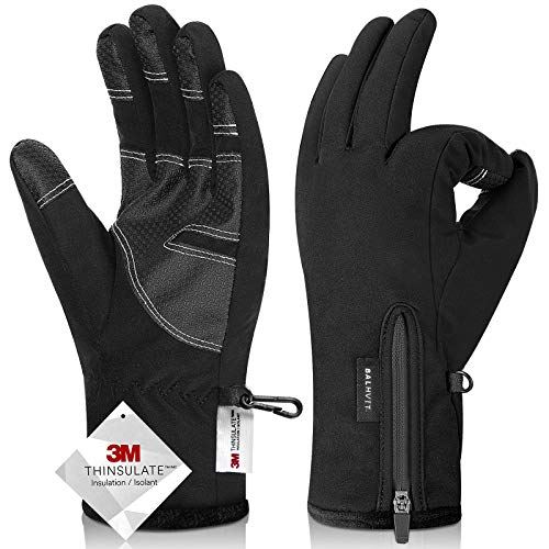 -30℉ Waterproof Winter Gloves 3M Thinsulate Breathable Touch Screen Men Women (Large, Black)