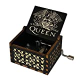 Evelure Carillon di Legno Tema di Queen, Merry Christmas,Scatole Musicali in Legno Intagliate a Mano e Intagliate a Mano Creativi I Migliori Regali (A-Nero)