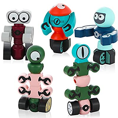 LESONG Magnetic Robots Toy, 35pcs Magnetic Building Toys for Ages 4-8, Outer Space Magnet DIY Assembly STEM Educational Toy Best Gift for Age 3 4 5 6 Years Old Boys and Girls Preschool Toddlers