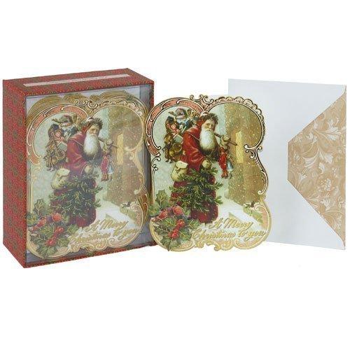 Punch Studio 57195 - Tarjetas de felicitación navideñas (12 unidades), diseño de Papá Noel