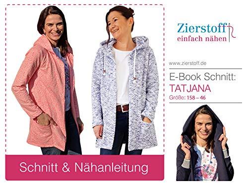 Zierstoff einfach nähen Schnittmuster, Sweatshirtjacke/Cardian Tatjana, Gr. 158 bis Damengr. 46 - digital