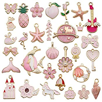 Juland 31 Pieces Mixed Alloy Enamel Charms Pendants Necklace Bracelet Charms Assorted Metal Floating Charms Wholesale Earrings Findings Oil Drip Charms for DIY Glass Living Memory Locket – Pink
