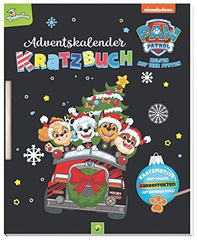 PAW Patrol Adventskalender Kratzbuch: Kratzmotive mit tollen Farbeffekten. Mit Bambus-Stick