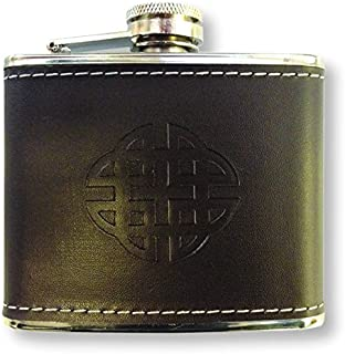 Scottish Embossed Celtic Cross Design 4oz Hip Flask
