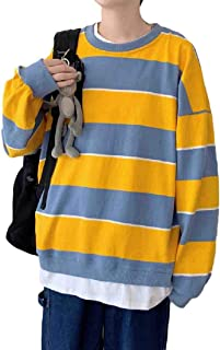 neveraway Mens Unisex Two Pieces Big and Tall Casual Striped Sweatshirts
