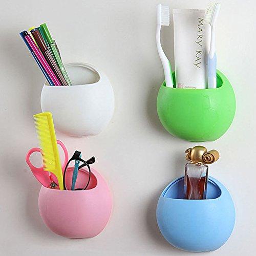Cuteco 1 étui à brosse à dents en forme d'œufs mignons avec crochets à ventouse pour salle de bain et cuisine (rose).