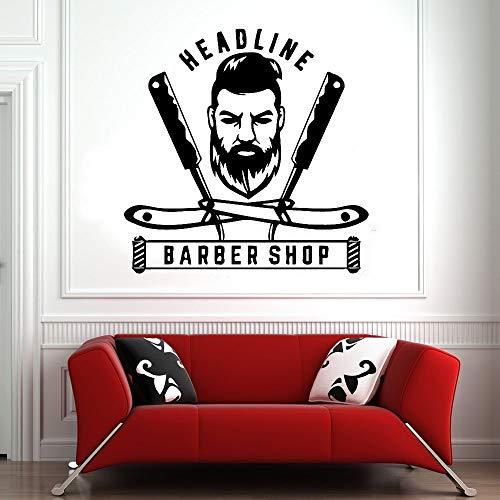 HFDHFH Título Personalizado calcomanías de Pared barbería Caballero peluquería decoración de Interiores Afeitado Arte Papel Tapiz Puertas y Ventanas Pegatinas de Vinilo