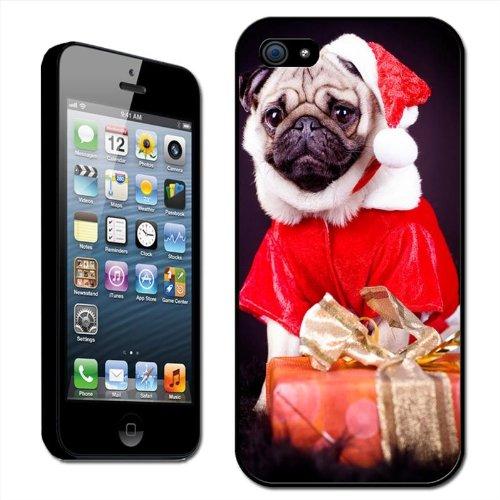 Fancy Een Knuffel Knuffel Hond Gekleed als Kerstman met Kerstmis Geschenken Clip Op Achterzijde Cover Hard Case voor Apple iPhone 5