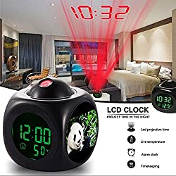 Girlsight Alarm Clock Multi-function Digital LCD Voice Talking LED Projection Wake Up Bedroom with Data and Temperature Wall/Ceiling Projection-193.Giant panda eating