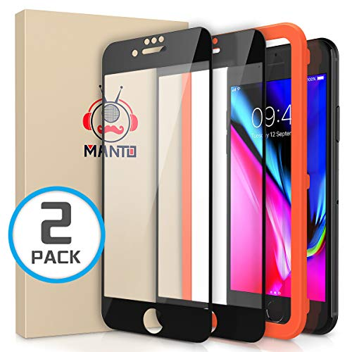 Manto Panzerglas Schutzfolie für iPhone 8 Plus/7 Plus/6 Plus/ 6S Plus, Full Coverage Hartglas Edge to Edge Schutz, 9H Härte, Anti-Kratzer, Anti-Öl, Anti-Bläschen, Schwarz