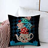 Staromay Throw Pillows Covers Cushion Case Ceramic Hatter Wonderland Mad Tea Party Pyramid Fantasy Food Drink Alice Cup Magic Pattern Design Cotton Linen for Fall Couch Home Decor 20 x 20 Inches