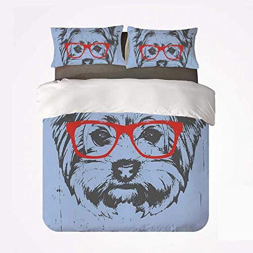 Juego de Funda nórdica Yorkie Various 3Bedding Set, Yorkshire Terrier Portrait Red Nerd Gafas Fondo contaminado Animal para el hogar