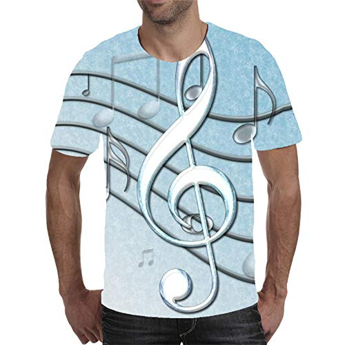 AXDNH 3D-Druck-T-Shirt, Unisex Fashion Short Sleeve Visual Art Klavier Muster Fitness und Freizeit Top,D,M