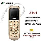 LONG CZ J8 petit téléphone Bluetooth 3 en 1 mini téléphone Bluetooth dialer Bluetooth écouteur soutien carte SIM changeur de voix FM MP3 99,99% en plastique patron téléphone 18 Gram (Gold)
