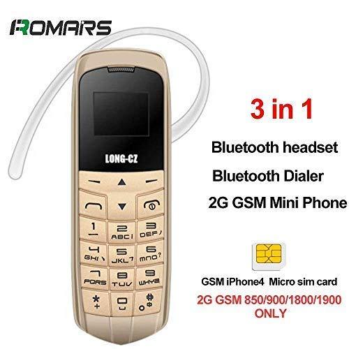 LONG CZ J8 Il più piccolo Mini Telefono 3 in 1 Bluetooth Dialer + Bluetooth + Mini SIM Phone 99,99% Plastica BOSS Supporto telefonico iPhone 4 Micro SIM Card 2G 18G (d'oro)