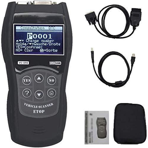 OBDII Barcodeleser-Diagnosewerkzeug, LCD-Anzeige kann Lesen und Löschen Fehlercodes, Query DTCs und Multi-Language, Geeignet für Auto-Motor-Inspektion