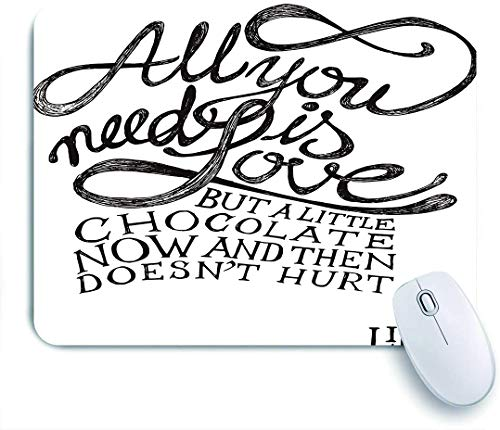 Marutuki Gaming Mouse Pad,Zitate Dekor, alles was Sie brauchen ist Liebe Kalligraphie Comic Spaß Glück Zitate Classic Artwork Print, Schwarz Weiß,für Computer Laptop Office Desk,240 x 200mm