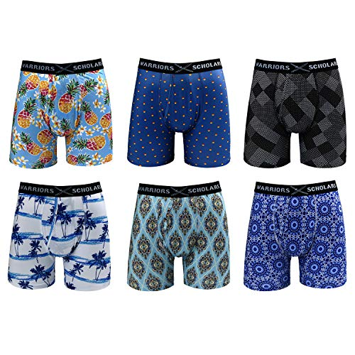 Warriors & Scholars | Mens Boxer Briefs 6 Set Multi Pack | Men's No Ride Up Underwear Boxers for Men, Youth Pack 47 W/Fly, X-Large