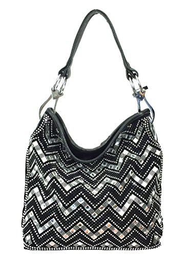 Zzfab Sparkle Gem Chevron Rhinestone Hobo Bag with Shoulder Strap Black
