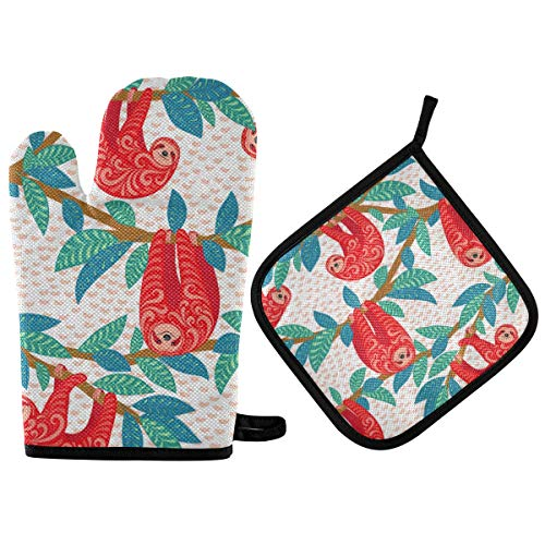 HAIIO Oven Mitt and Potholder Sets Tribal Leaves Sloth Animal Quilted Cotton Lining Heat Resistant Pad for Kitchen Baking Cooking